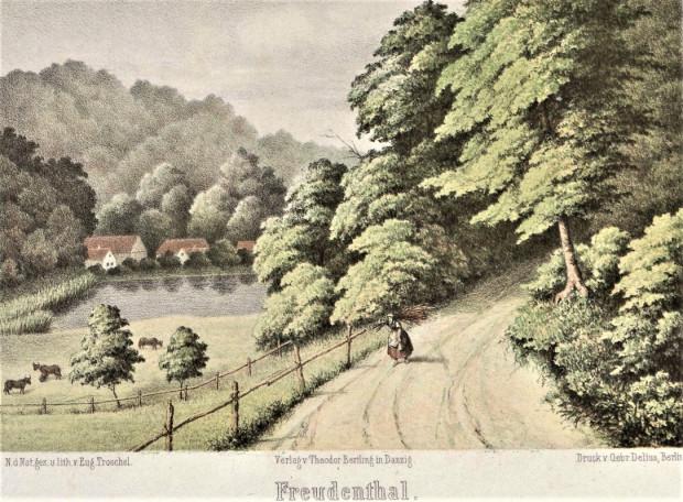 """Obraz """"Dolina Radości"""" z 1859 r., którego autorem jest Adolf Eugen Troschel."""
