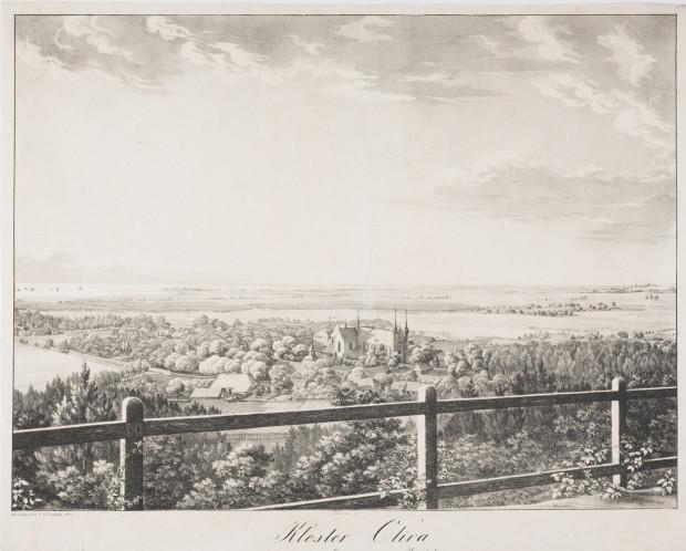 Widok na Oliwę z Pachołka. Grafika została wykonana ok. 1825 r.