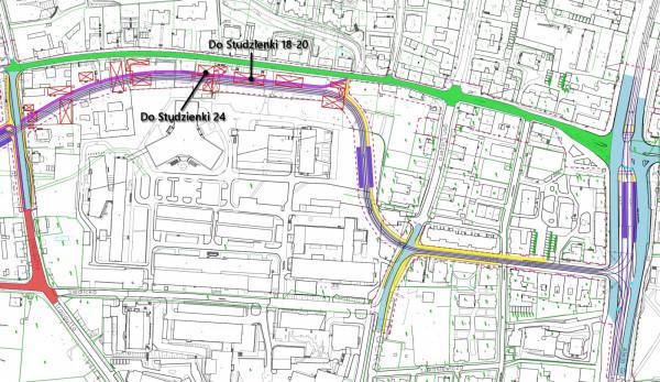 Koncepcja przebiegu trasy tramwajowej Nowej Politechnicznej z 2016 r.