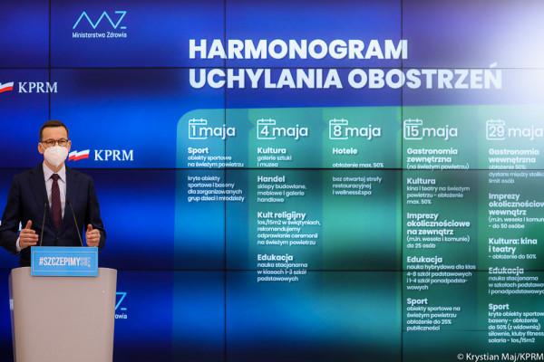 Harmonogram luzowania obostrzeń w gospodarce przedstawił w środę przed południem premier Mateusz Morawiecki.