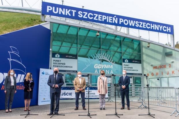 Uroczysta inauguracja Punktu Szczepień Powszechnych w Gdyni.