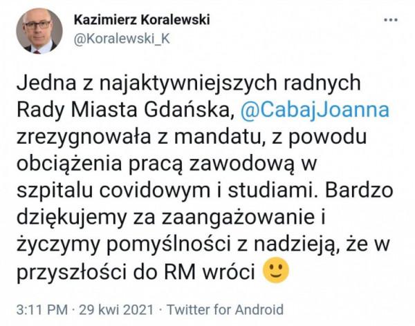 O decyzji radnej Cabaj poinformował w czwartek szef klubu PiS.