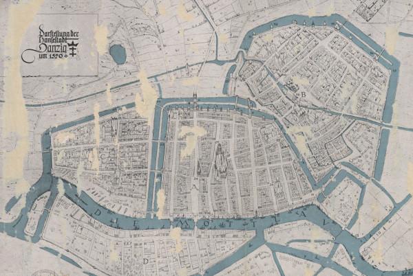 Plan przedstawiający Gdańsk ok. 1520 roku.