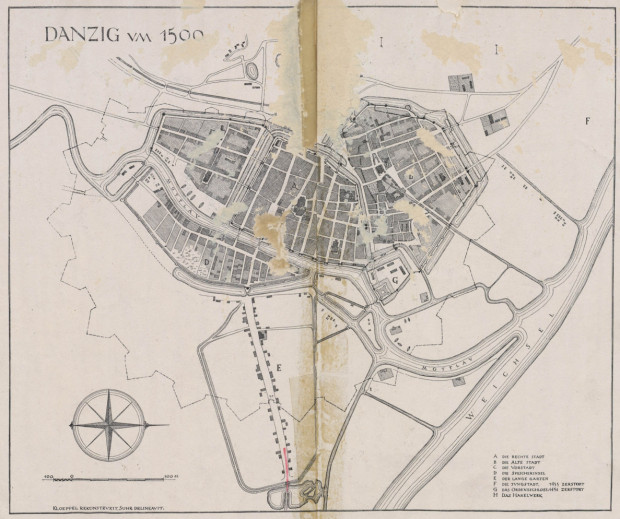 Plan przedstawiający Gdańsk około 1500 roku.