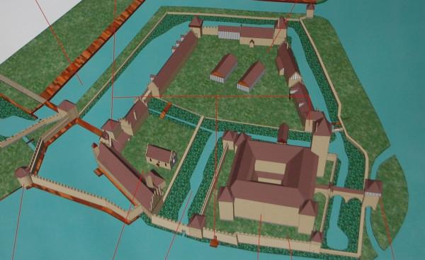 Próba odtworzenia wyglądu zamku krzyżackiego w Gdańsku  zaproponowana przez archeologa Piotra Matuszewskiego na początku lat 2000.