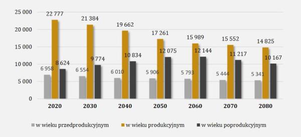 Struktura ludności Polski według grup wieku.