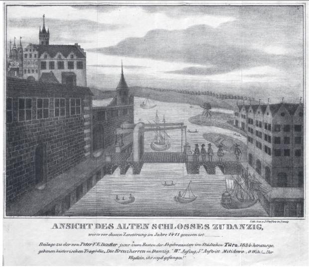 """Rycina zamku krzyżackiego w Gdańsku (po lewej stronie) autorstwa Jana Seyffertsa """"Ansicht des alten Schlosses zu Danzig"""" z tragedii Petera Friedricha Dentlera """"Die Kreuzherren in Danzig"""", wydanej w Gdańsku w 1834."""