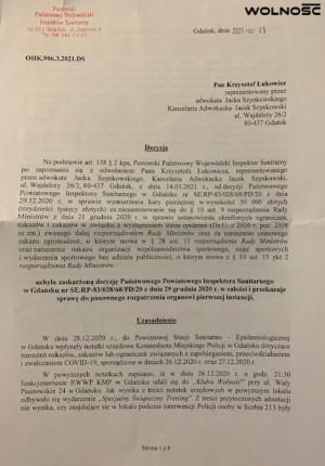 Wojewódzka Stacja Sanitarno-Epidemiologiczna w Gdańsku uchyliła decyzję jednostki powiatowej i skierowała sprawę do ponownego rozpatrzenia.