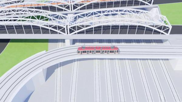 Tramwaj łączący al. Grunwaldzką z dworcem Wrzeszcz PKP i al. Legionów pokonywałby tory kolejowe nowym wiaduktem, który powstałby obok dwóch już istniejących.