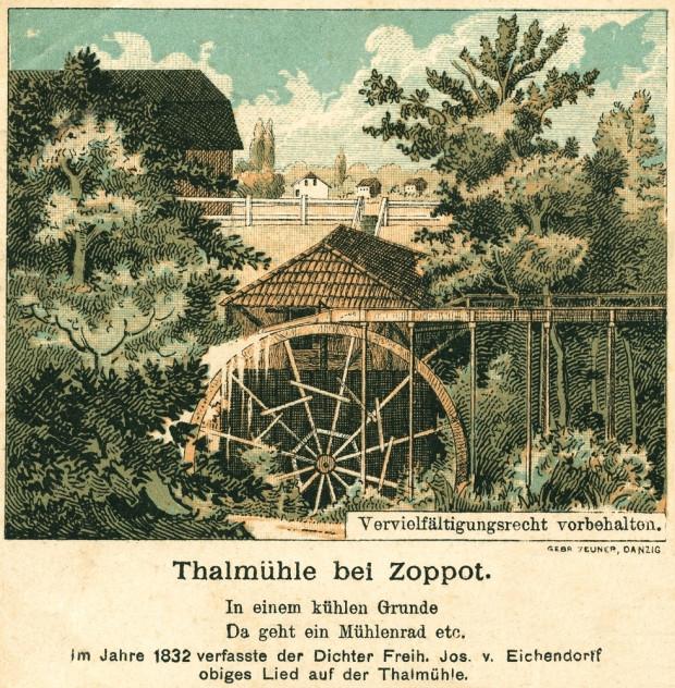 Dolinny Młyn na pocztówce z 1895 r. Sopotu.