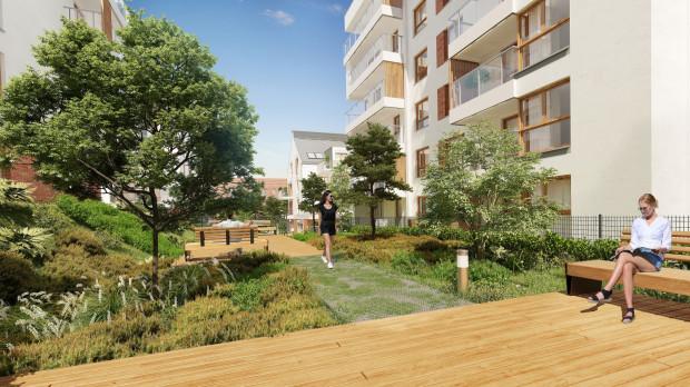 Na terenie osiedla będzie można przysiąść i odpocząć w kameralnym parku kieszonkowym.