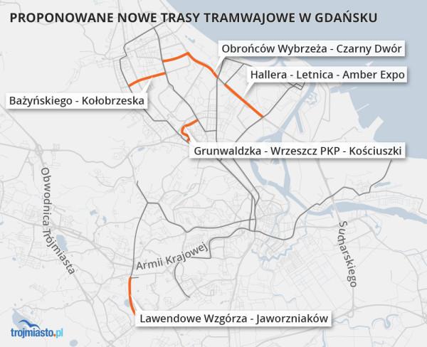 Pięć nowych tras tramwajowych, o których budowie dyskutuje się od dawna, proponuje nasz czytelnik. Jego zdaniem powinny zostać wybudowane za środki, jakie miasto otrzyma z Krajowego Programu Odbudowy, solidarnościowego funduszu Unii Europejskiej, stworzonego, by wesprzeć gospodarki, które ucierpiały w czasie pandemii.