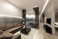 Linia oświetlenia ledowego prowadzi przez całą długość mieszkania i odbija się w tafli luster ukrywającej szafę w hallu.