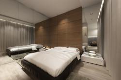 Lustro za nocną szafką odbija także część salonu (przy rozsuniętych drzwiach. To bardzo powiększa przestrzeń.
