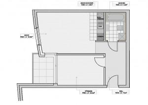 Układ mieszkania proponowany przez dewelopera.