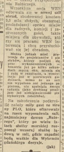 Notatka z Dziennika Bałtyckiego nr 65 z 18 marca 1966 z komentarzem na temat wykończenia sali.
