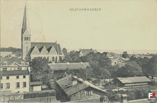 Panorama Nowego Portu na widokówce z początku XX stulecia.