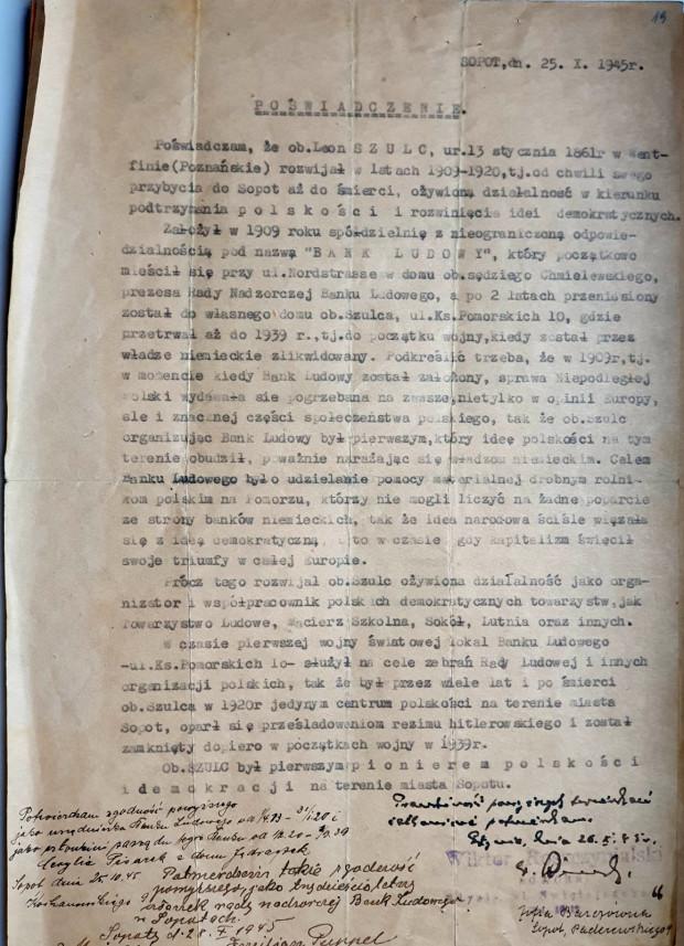 Poświadczenie o polskości Leo Schulza i jego małżonki Małgorzaty Schulz z 25.10.1945 r.