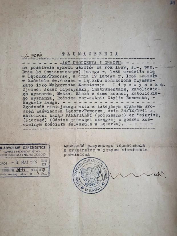 Urzędowe tłumaczenie aktu urodzenia i chrztu Małgorzaty Lipczinskiej.
