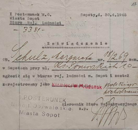 Zaświadczenie  Małgorzaty Lipczinskiej wystawione na sopockim posterunku M.O. w 1945 r. (awers).