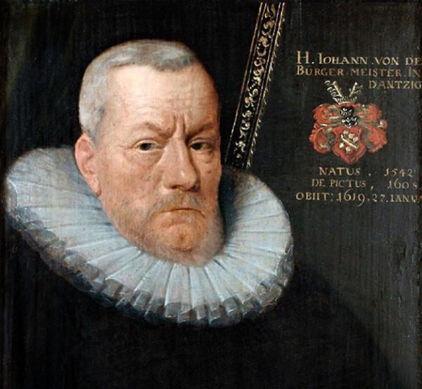 Johann von der Linde, burmistrz Gdańska. Godność burmistrza piastował przez 38 lat, od 1581 roku.