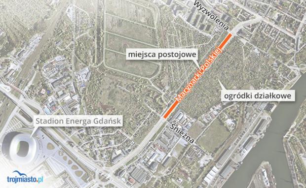 W tym miejscu wyznaczono miejsca parkingowe w ubiegłym roku, na odcinku 650-700 m. Teraz będzie ich mniej.