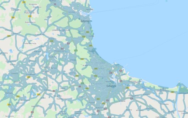 Niebieskie obszary na mapie pokazują, gdzie dostępne są zdjęcia Street View.