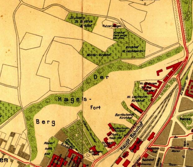 Fragment planu Gdańska z 1908 r. ukazujący szereg cmentarzy zlokalizowanych wokół Góry Gradowej.