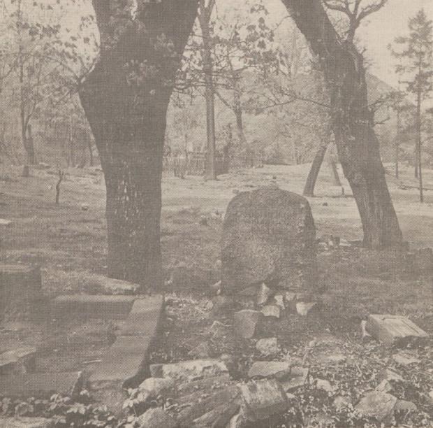 Jeden z ostatnich nagrobków na dawnym cmentarzu Bożego Ciała. Nekropolia zamknięta została w 1956 r., a nagrobki - w tym ten widoczny na zdjęciu - usunięto do końca lat 60.