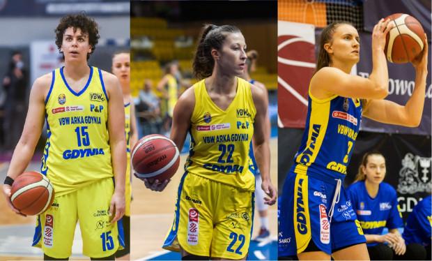 Artemis Spanou (z lewej) i Amalia Rembiszewska (w środku) nie zagrają w VBW Arce Gdynia w kolejnym sezonie. Z całej trójki kontrakt przedłużono tylko z Kamilą Podgórną (z prawej).