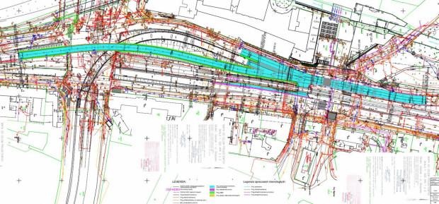 Niebieskim kolorem zaznaczony jest zakres prac drogowych w ramach tej inwestycji.
