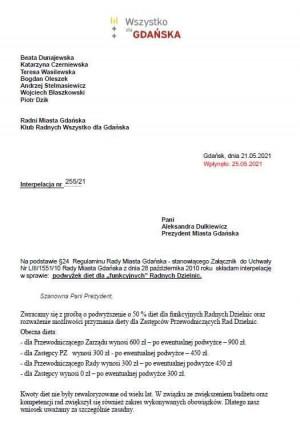 Interpelacja ws. podwyżek diet, która trafiła do władz Gdańska.
