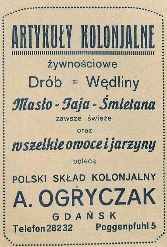 Reklama sklepu należącego do Apolonii Ogryczak, działającego przy obecnej ulicy Żabi Kruk.