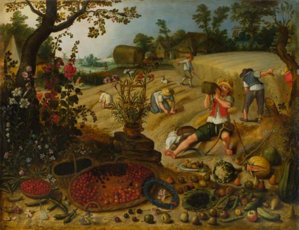 """""""Różne spojrzenia. Malarstwo holenderskie i flamandzkie z Kolekcji Ergo Hestii"""" to ekspozycja wyjątkowa, prezentująca prywatną kolekcję obrazów. Na zdjęciu jeden z nich - """"Alegoria lata"""" Sebastiana Vrancx."""