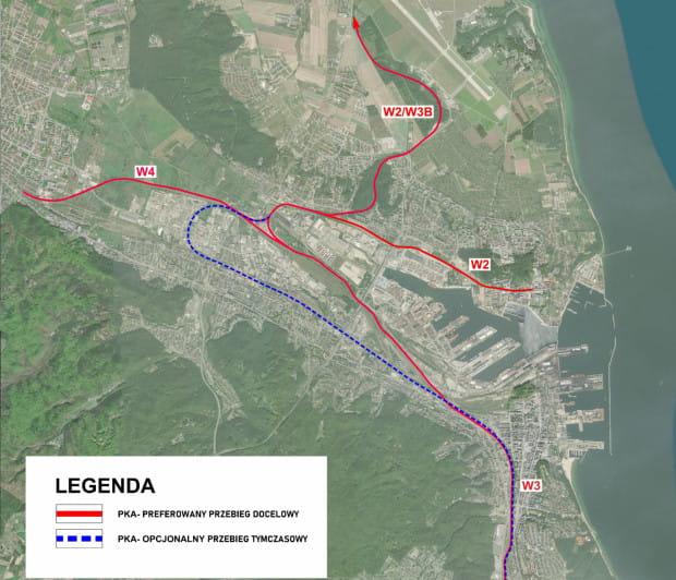 Proponowany przez samorządy przebieg kolei na północ Gdyni oraz przebieg tymczasowy.