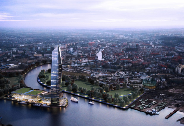 170-metrowy wieżowiec, który miał stanąć na Polskim Haku zaprojektował także gdański architekt Marcin Kozikowski.