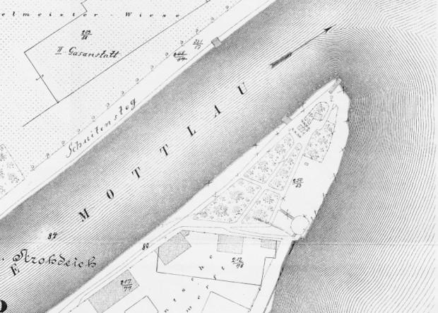 Ogród Leopolda wyraźnie widoczny na samym cyplu Polskiego Haka. Plan Buhsego z lat 1866-69.
