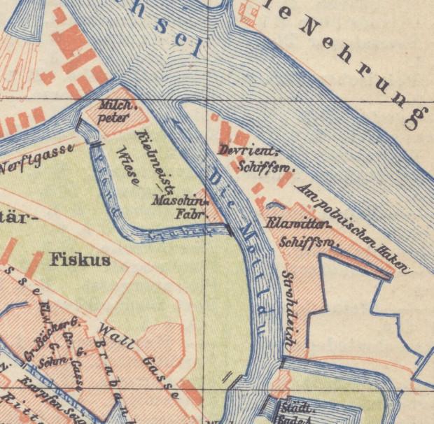 Widoczne zabudowania stoczni Devrienta i stoczni Klawittera na planie Gdańska z 1897 roku.