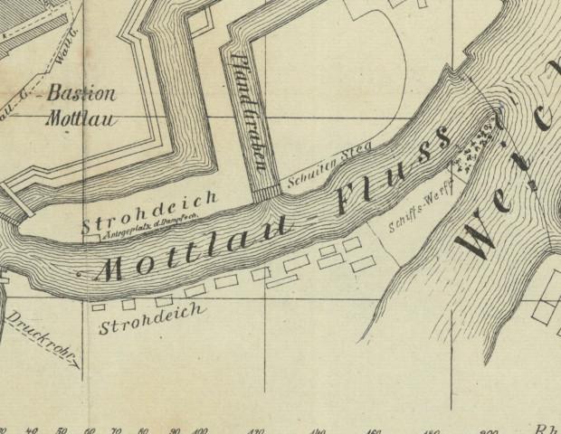 Polski Hak z widocznymi terenami zielonymi i stoczniowymi. Plan Gdańska z 1880 roku.