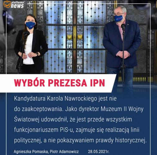 Przed piątkowym posiedzeniem Sejmu posłowie z Gdańska poinformowali, że Klub KO zagłosuje przeciwko powołaniu Nawrockiego na szefa IPN.