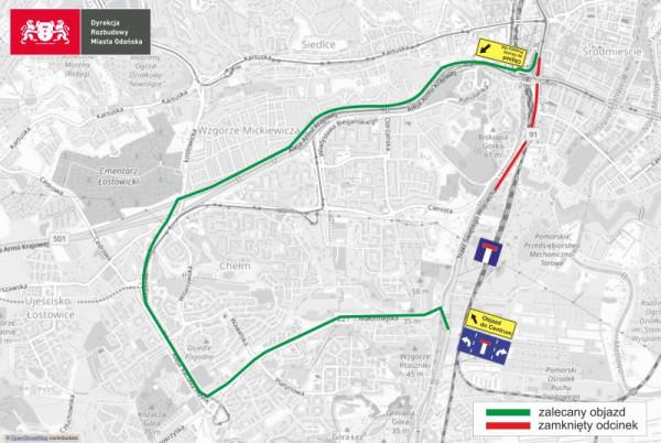 W godz. 22-5 kierowcy z i do centrum będą musieli jechać wytyczonym objazdem.