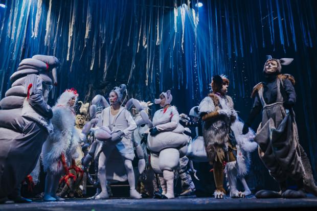 """Wspaniałe zwierzęce kostiumy są zasługą Moniki """"Iki"""" Wójcik oraz Iwony Klein i Pracowni Olsztyńskiego Teatru Lalek."""