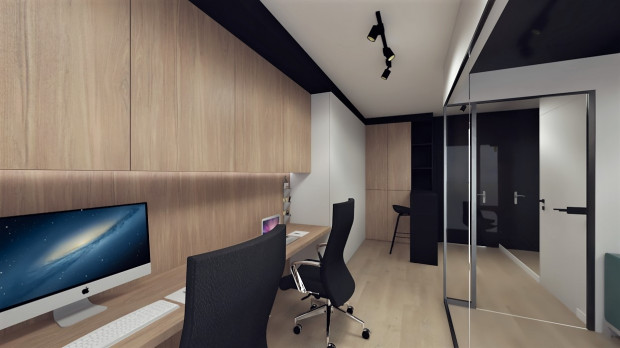 W pierwszej wersji miejsca pracy znajdują się wzdłuż ściany, za częścią kuchenną i recepcją.