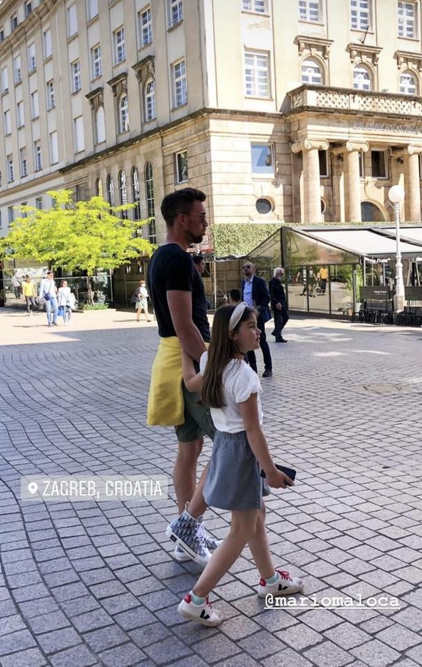 Mario Maloca z córką w Zagrzebiu.