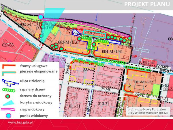 Głównie ustalenia planistyczne dla projektu planu oraz terenów w bezpośrednim sąsiedztwie.