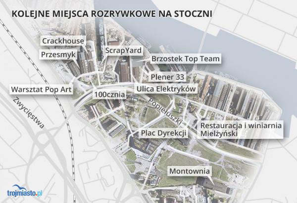 Mapa rozrywkowych miejsc na terenach dawnej stoczni.