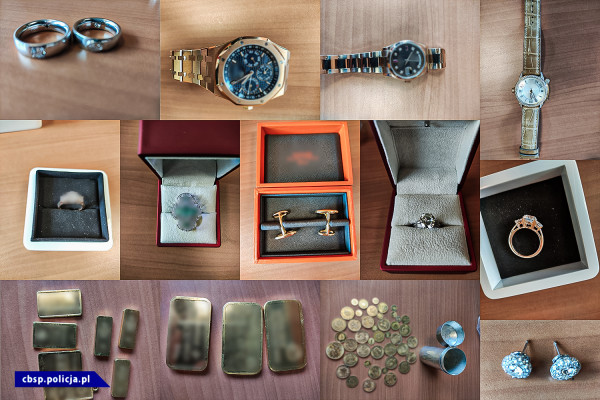 Służby zabezpieczyły kosztowności - drogie zegarki, biżuterię i diamenty.