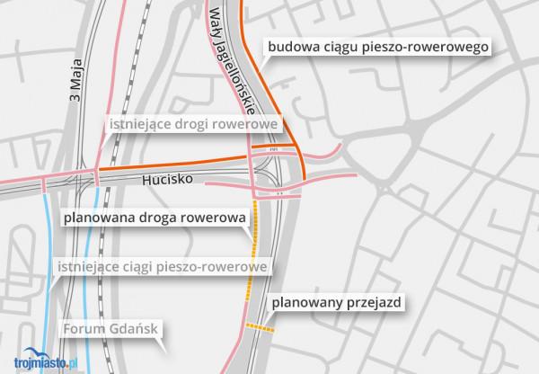 Istniejąca, budowana i planowana infrastruktura rowerowa w centrum Gdańska.