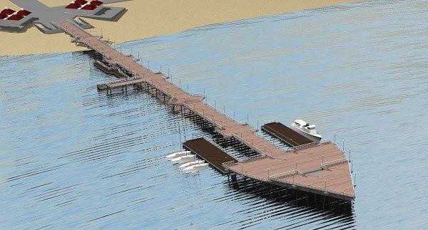 Wybrana w głosowaniu internetowym w 2006 r. koncepcja rozbudowy molo. Internauci zdecydowali wówczas, że nowa głowica będzie realizowana w najbardziej rozbudowanym wariancie z dwoma bocznymi pomostami, przy których mogłoby cumować ok. pięciu - ośmiu jachtów oraz dwa statki żeglugi pasażerskiej (w tym np. tramwaje wodne).