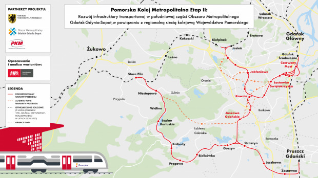 Rekomendowane oraz alternatywne warianty przebiegu nowej linii kolejowej PKM Południe w Gdańsku i ościennych gminach.